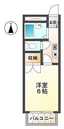 愛知県豊田市三軒町1丁目の賃貸アパートの間取り