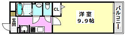 JR東海道・山陽本線 岸辺駅 徒歩13分の賃貸マンション 3階1Kの間取り
