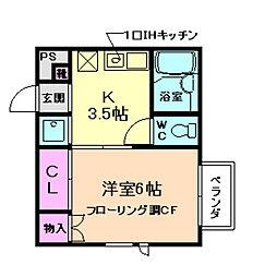 大阪府箕面市桜井3丁目の賃貸アパートの間取り