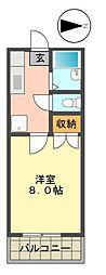 愛知県名古屋市名東区上社2丁目の賃貸アパートの間取り