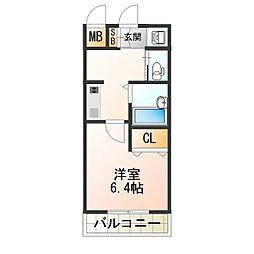 シエテ矢田 2階ワンルームの間取り