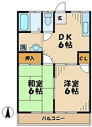 東京都多摩市落川の賃貸アパートの間取り