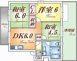 兵庫県神戸市垂水区桃山台6丁目の賃貸アパートの間取り