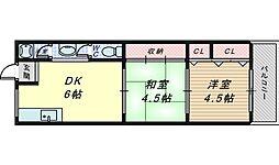 北長尾マンション[4階]の間取り