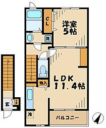 京王相模原線 京王堀之内駅 徒歩9分の賃貸アパート 2階1LDKの間取り