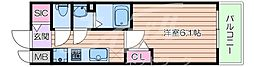 Osaka Metro谷町線 四天王寺前夕陽ヶ丘駅 徒歩8分の賃貸マンション 2階1Kの間取り