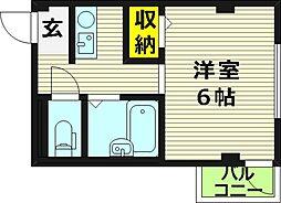 親和マンション 3階1Kの間取り