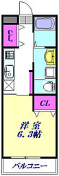 JR高崎線 北本駅 徒歩28分の賃貸アパート 2階1Kの間取り