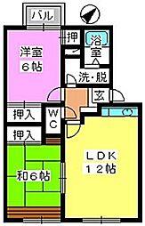 メロディハイツ永隈2[202号室]の間取り