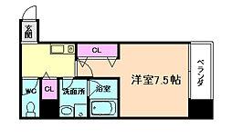 JR東西線 海老江駅 徒歩7分の賃貸マンション 4階1Kの間取り