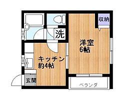 神奈川県横浜市青葉区桜台の賃貸アパートの間取り