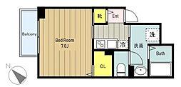 京王相模原線 調布駅 徒歩6分の賃貸アパート 3階1Kの間取り