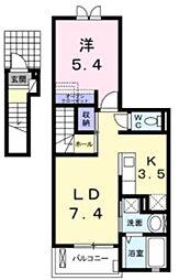 ジェルメ南葛西II A棟 2階1LDKの間取り