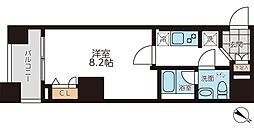 JR山手線 駒込駅 徒歩8分の賃貸マンション 4階1Kの間取り