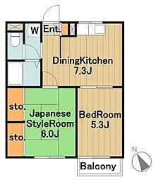 神奈川県相模原市中央区千代田1丁目の賃貸アパートの間取り