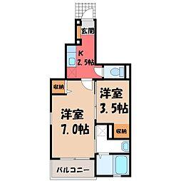 栃木県真岡市下大沼の賃貸アパートの間取り