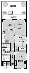 神奈川県川崎市多摩区長尾2丁目の賃貸マンションの間取り