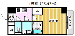 JR東海道・山陽本線 高槻駅 徒歩15分の賃貸マンション 3階1Kの間取り