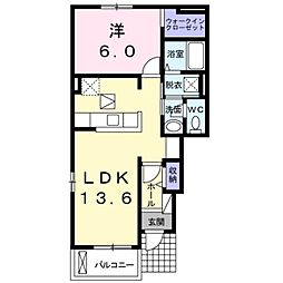 JR総武本線 四街道駅 バス6分 萱橋台下車 徒歩4分の賃貸アパート 1階1LDKの間取り