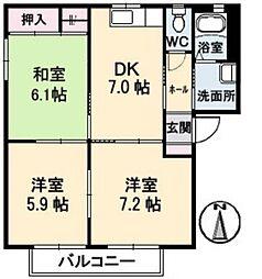 グラスコート日吉 B[2階]の間取り
