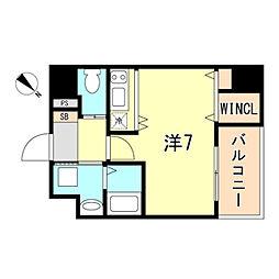 JR東海道・山陽本線 神戸駅 徒歩10分の賃貸マンション 6階ワンルームの間取り
