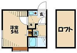 小田急小田原線 読売ランド前駅 徒歩4分の賃貸アパート 1階1Kの間取り