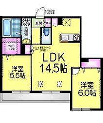 仮称)園生町メゾンC棟 1階2LDKの間取り