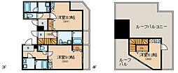Glanlink Komazawa 4階ワンルームの間取り