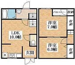 Osaka Metro谷町線 長原駅 徒歩8分の賃貸テラスハウス 2階2LDKの間取り