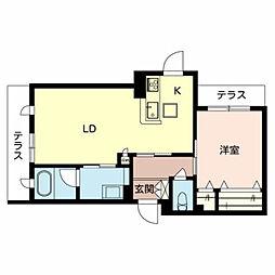 仮称)堺市東区シャーメゾン西野 1階1LDKの間取り