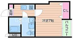 Osaka Metro今里筋線 関目成育駅 徒歩3分の賃貸マンション 2階1Kの間取り