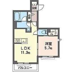 仮)ベル ホワイト 3階1LDKの間取り