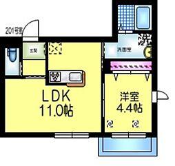 都営新宿線 本八幡駅 徒歩5分の賃貸マンション 2階1LDKの間取り
