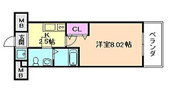 Osaka Metro谷町線 都島駅 徒歩6分の賃貸マンション 9階1Kの間取り