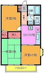 千葉県市川市国府台4の賃貸アパートの間取り