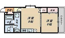 大阪府堺市堺区京町通の賃貸マンションの間取り