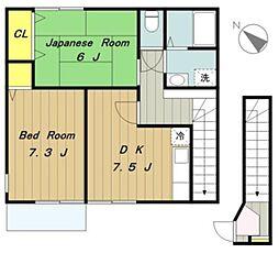 神奈川県相模原市緑区町屋3の賃貸アパートの間取り
