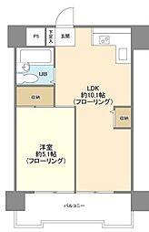 パラスト五反田 3階1LDKの間取り