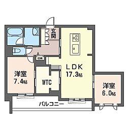ロワイヤル フレーズ 武蔵野 1階2LDKの間取り