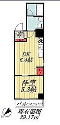 JR総武線 市川駅 徒歩5分の賃貸マンション 2階1DKの間取り