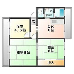 愛知県岡崎市緑丘2丁目の賃貸マンションの間取り