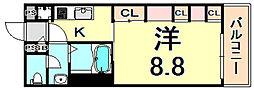リブリ・スカイブルースター 3階1Kの間取り
