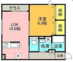 小田急小田原線 成城学園前駅 徒歩17分の賃貸マンション 1階1LDKの間取り