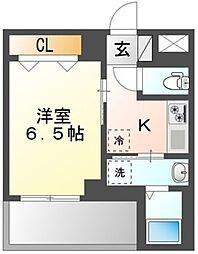 MSII TABATA 4階1Kの間取り