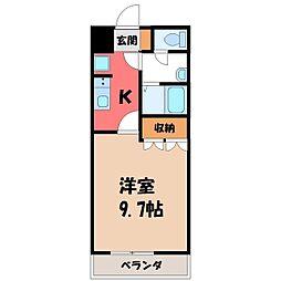 栃木県真岡市東光寺2丁目の賃貸アパートの間取り