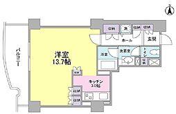 文京グリーンコート ビュータワー本駒込 6階ワンルームの間取り