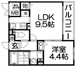 ライズアップ西尾[1階]の間取り