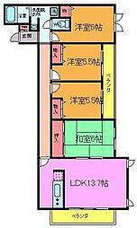 フラワーベール六番館[2階]の間取り