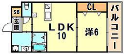 JR東海道・山陽本線 三ノ宮駅 徒歩15分の賃貸アパート 1階1LDKの間取り