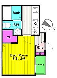 小田急小田原線 向ヶ丘遊園駅 徒歩12分の賃貸アパート 1階1Kの間取り